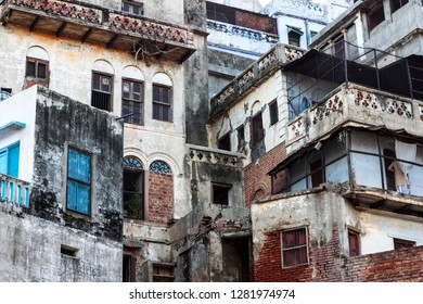 abandoned house building in a slum neighborhood in India