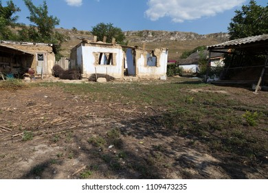 Abandoned house in the country. Typical view for rural areas in Moldova.