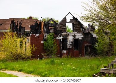 Abandoned House in Detroit, Michigan. This is a deserted building in a bad part of town.