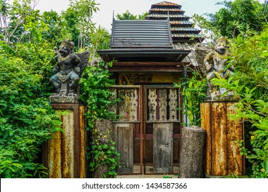 Abandoned house. The entrance to the abandoned house in the forest, Old Balinese style house. Asian House, Thailand, Cambodia and  Bali Indonesia.