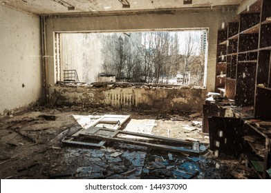 Abandoned house interior in Chernobyl