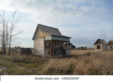 Abandoned house, Karaganda, Kazakhstan. The steppe