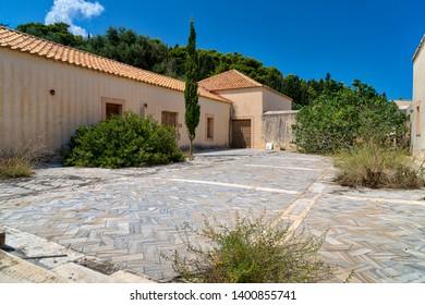 abandoned house in mediterranean landscape