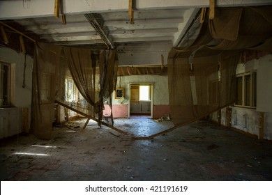abandoned house ruined, building, mess, interior