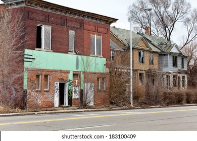 Abandoned houses in Detroit, Michigan. This is a deserted building in a bad part of town.