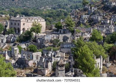 Abandoned houses and ruins of Kayakoy village, Fethiye, Turkey