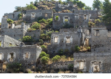 Abandoned houses and ruins of Kayakoy village, Fethiye, Turkey