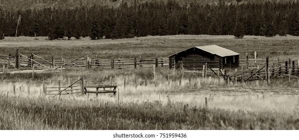 Abandoned Idaho cattle ranch in northeastern Idaho.
