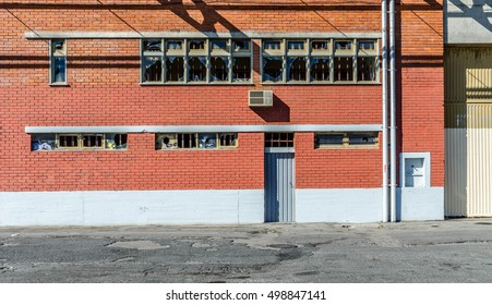 Abandoned industrial facility with brick facade
