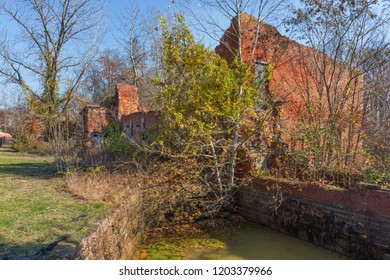 Abandoned industrial factory buildings of the historic Smithville Village in Burlington County New Jersey.