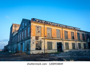 Abandoned industrial plant at sunset, Veneto, Italy