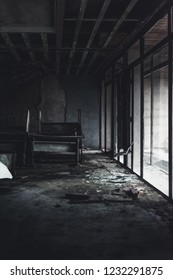 Abandoned interior of a hotel. Dramatic