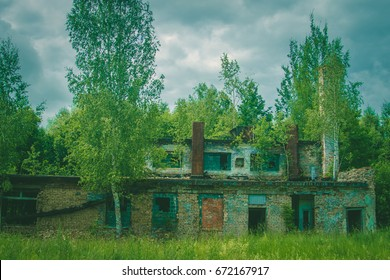 Abandoned interior in ruins of military settlement. The headquarters of the military unit
