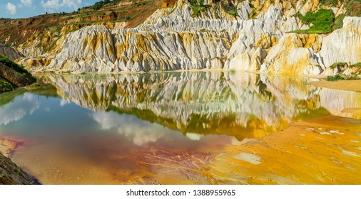 Abandoned kaolin quarry with Water pollution and petrochemical products, Vetovo village area, Bulgaria