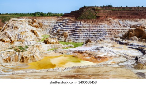 Abandoned Kaolin quarry with white plaster material, Vetovo village area, Bulgaria