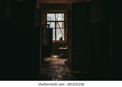 Abandoned kindergarten in Chernobyl exclusion zone.Kopachi village. Ukraine. Low light capture for atmosphere of fear and loneliness. Violence against children. Legacy of USSR. Ex Soviet legacy.