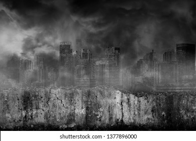 Abandoned large cities are covered with smoke from the civil war with damaged grungy crack and broken concrete wall in front