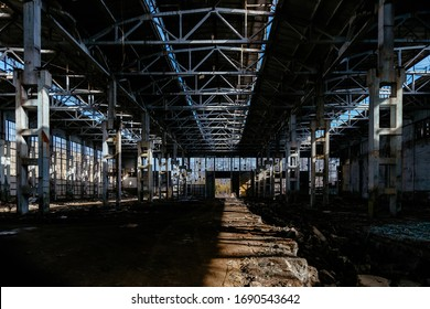 Abandoned large industrial hall waiting for demolition. Former Voronezh excavator manufacturing factory