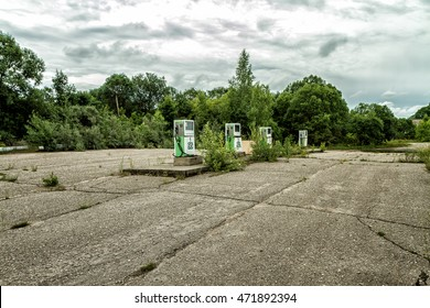 Abandoned and left to the gas station and store