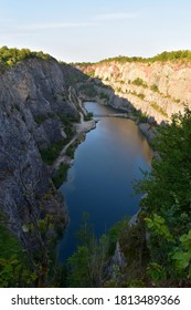 Abandoned limestone quarry Velká Amerika (Big America, Czech Grand Canyon) in the Czech Republic (in Beroun District).