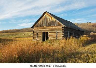 Abandoned log barn on a grassy hillside in fall Trees and harvested fields in the background