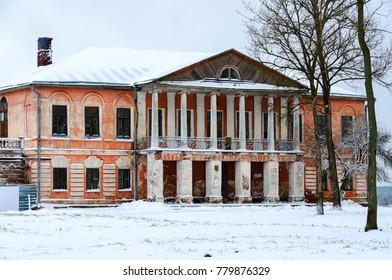 Abandoned manor house of Chaletsky and Voynich-Senkozheskiy in village of Khalch of Vetkovsky district of Gomel region, Belarus