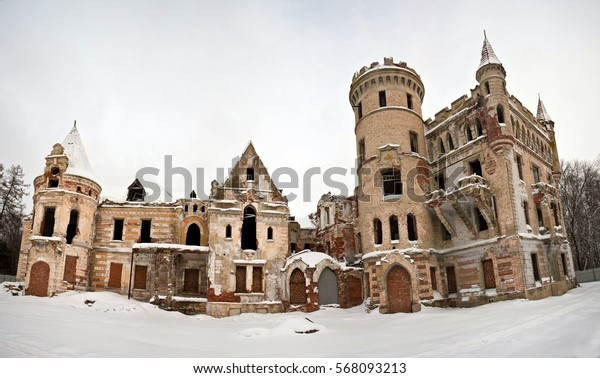 Abandoned manor of Khrapovitsky in winter in Muromtsevo, Golden Ring in Russia