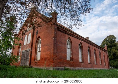 Abandoned Mennonite church built in the Gothic style in 1899 in the village of Jezioro, Thiensdorf, Poland.