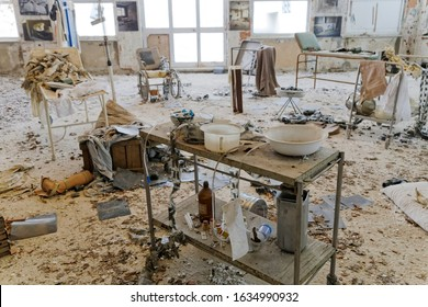 Abandoned messy  and dirty hospital room