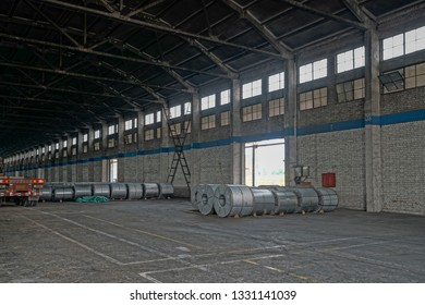 Abandoned metallurgical factory interior and building.