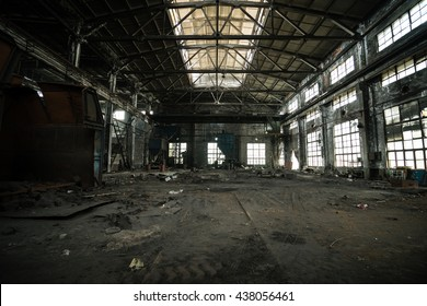 Abandoned metallurgical factory interior and building waiting for a demolition.