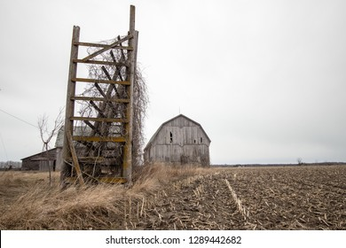 Abandoned Midwest Barn. Rural barn and corn sit empty in the heartland of the American Midwest.