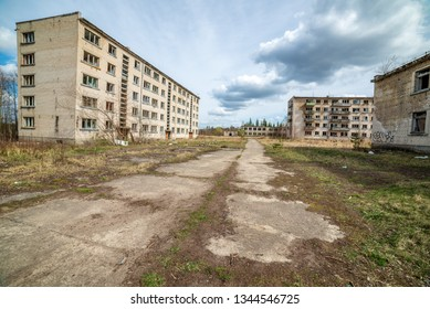 abandoned military buildings in city of Skrunda in Latvia. soviet army legacy, empty rooms