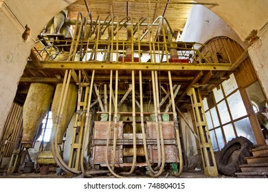 Abandoned mill interior. Milling factory inside former Christian Russian church. Farm Orobinsky, Voronezh region
