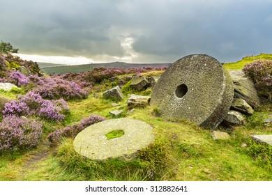 Abandoned Mill Stones at Burbage Edge, Hathersage Moor in Peak District National Park, Derbyshire, England, UK