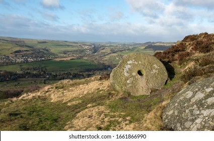 Abandoned millstone in the Derbyshire Peak District