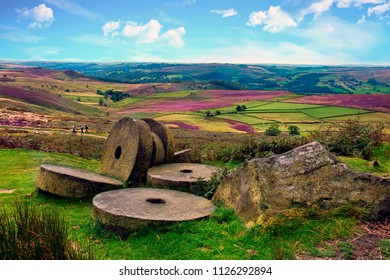 Abandoned Millstones at Stanage Edge, Derbyshire, England, United Kingdom