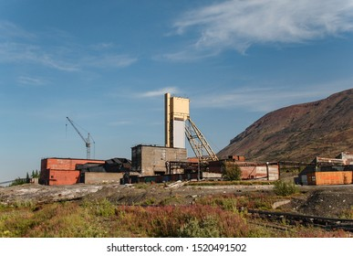 An abandoned mine in which nickel, copper, platinum, gold, cobalt, palladium and other rare components were mined. Talnakh, Norilsk, Russia