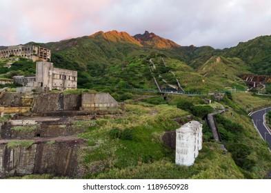 Abandoned mines factory at sunset moment, Jinguashi , Northeast coast of Taiwan.