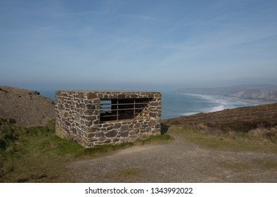 Abandoned Mineshaft by the Disused Airfield on the Atlantic Coast near Porthtowan on the South West Coast Path between Perranporth and Portreath in Rural Cornwall, England, UK