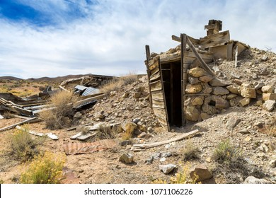 Abandoned Mining Camp Ghost Town Ruins in the Nevada Desert