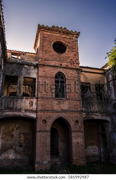 Abandoned mining village, owner's house, the Asproni Engineer. Iglesias, Sardinia