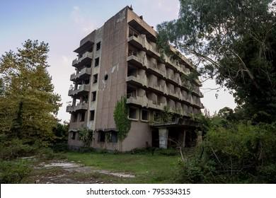 Abandoned multi-story building. Abandoned sanatorium