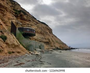 Abandoned mushroom building San Diego Blacks Beach