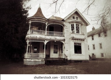 Abandoned and neglected house with slight grunge effect. Daytime.
