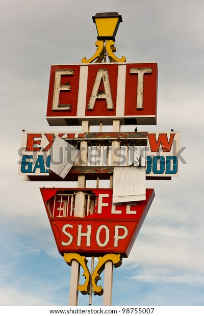 Abandoned neon restaurant sign along the Interstate 15 freeway in Barstow