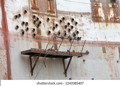Abandoned Nuclear Power Plant. Russia, the Crimea, Shelkino. Abandoned construction, iron backgrounds. Birds, pigeons.