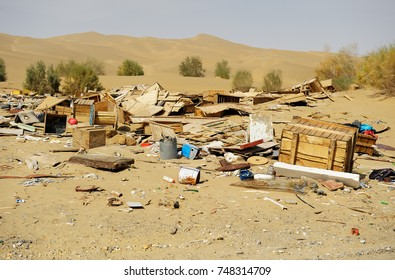 Abandoned objects, trash in Chinese desert in Xinjiang province