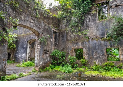 Abandoned old ancient building ruins indoor. Travel to Sao Tome and Principe. Beautiful paradise island in Gulf of Guinea. Former colony of Portugal.