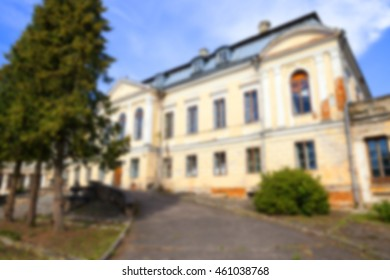 abandoned old crumbling building in the village Svyatsk, Belarus, the Palace of the 18th century, Defocus